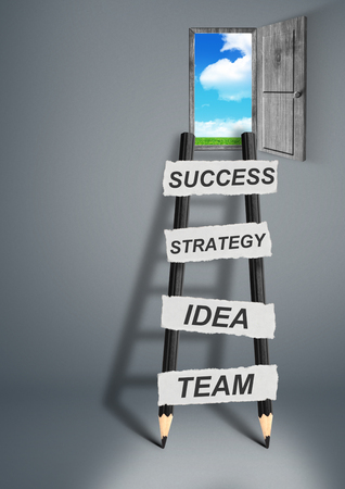 achievable: way to success creative concept, pencil Ladder