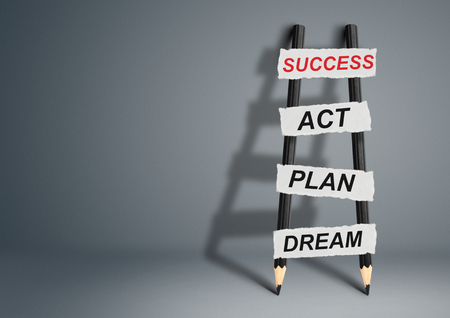 achievable: from dream to success concept, pencil Ladder