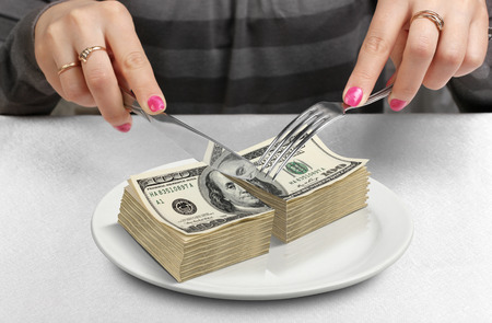 payday: Cut money on plate, cut budget concept
