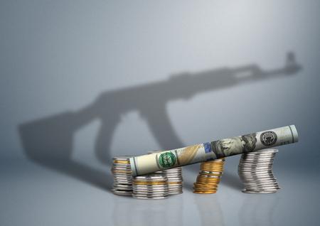 militair begrotingsconcept, geld met kanonschaduw
