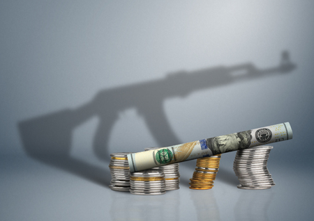 military budget concept, money with gun shadow Stock Photo