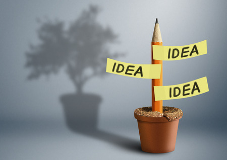 creative concept: Idea creative concept, pencil with tree shadow Stock Photo
