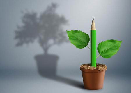 new idea creative concept, pencil growing from pot Stock Photo