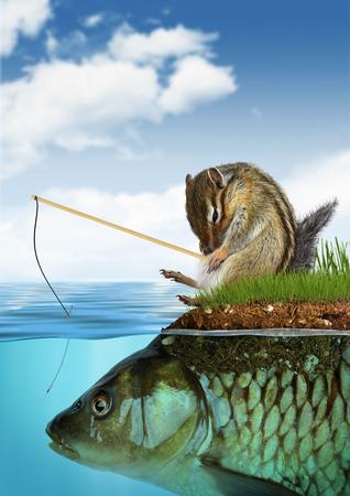 surrealistic: unpredictable result concept, chipmunk fishing on fish