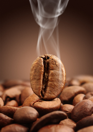 grano de cafe: Closeup coffee bean with smoke on brown background