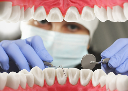 Dental examination concept, Inside mouth view