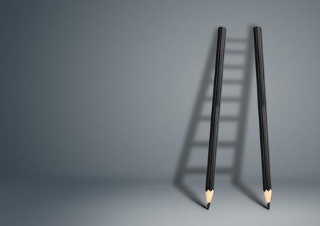 achievable: success creative concept, pencil Ladder