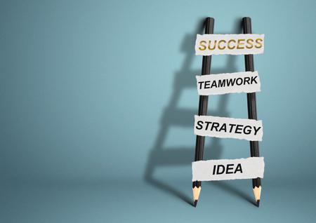 achievable: way to success concept, pencil Ladder