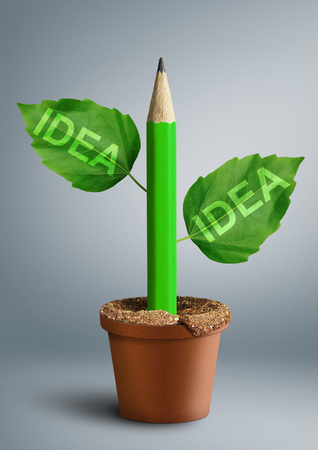 new ideas concept, pencil with leaves as stem