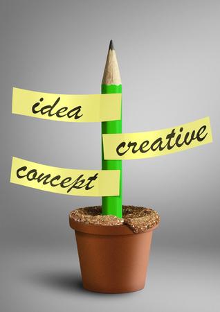 originate: Idea creative concept, pencil with stickers as plant