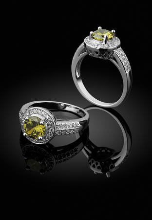 jewelry ring with big gemstone on black background Stock Photo