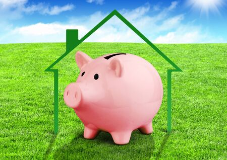 Savings for a house concept, piggy bank on green field