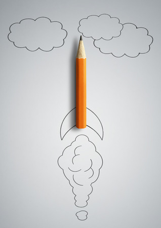 start up concept, pencil as drawn rocket Stock Photo