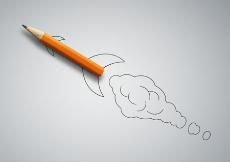 Startup concept, pencil as drawn rocket