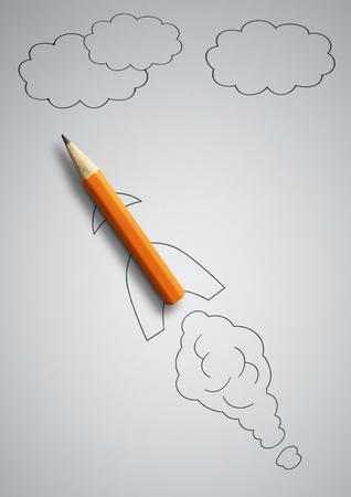 startup concept, pencil as drawn rocket Stock Photo