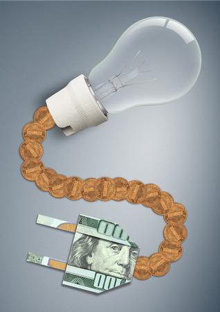hoher Preis und Tarif für Stromkonzept, Glühbirne mit Geldkabel und Stecker