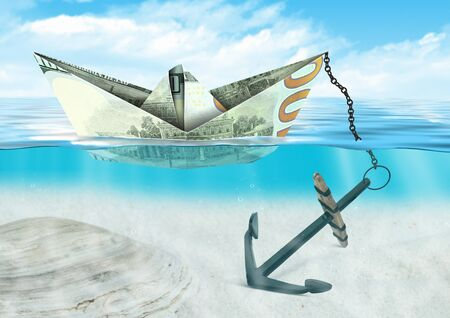 financial crisis concept, ship made of money with anchor, at sea