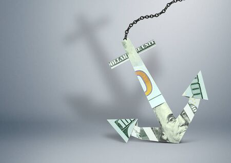 financial burden concept, anchor made of money