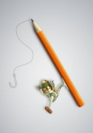 Idea creative concept, pencil as fishing rod