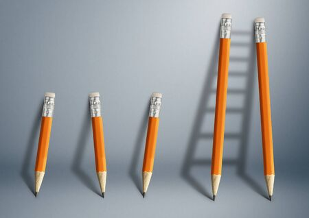 Successful effort and challenge in business concept, pencil stairs