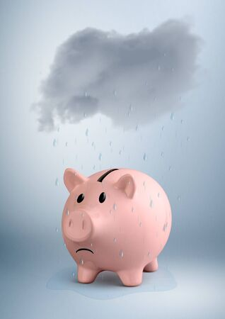 savings at risk concept, piggy bank and rain Stok Fotoğraf