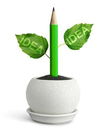 ideas concept, pencil with leafs in pot Banco de Imagens