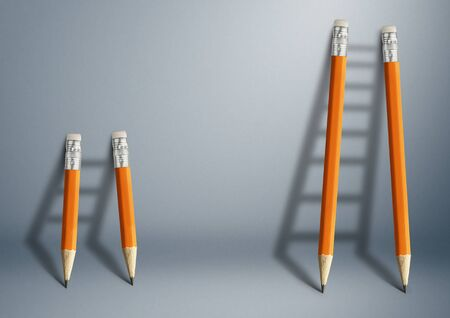 Successful effort and challenge in business concept, pencil stairs with copy space. Foto de archivo