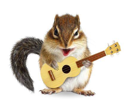 Tamia animal drôle avec guitare sur blanc Banque d'images