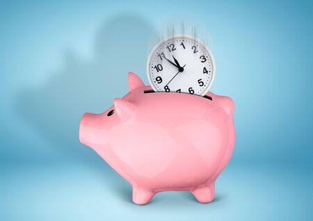 Saveing time concept, piggy bank with clock Stock fotó