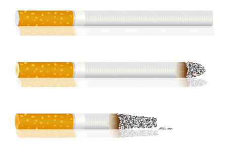 smoldering cigarette: Set of cigarettes