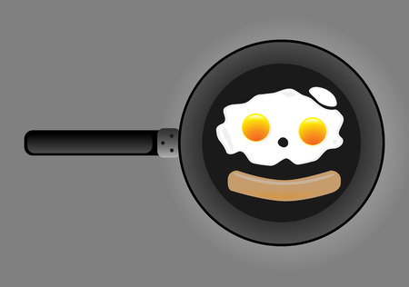 Fried egg and sausage  Illustration