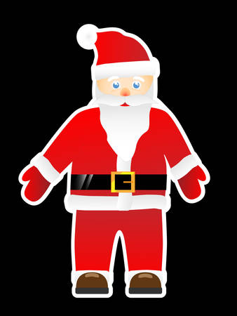 Santa Claus isolated on a black background  Illustration