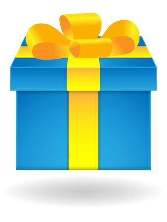 yellow ribbon: Blue gift box with yellow ribbon on white background