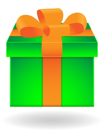Green gift box with orange ribbon on white background Stock Vector - 10969885