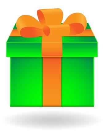 Green gift box with orange ribbon on white background