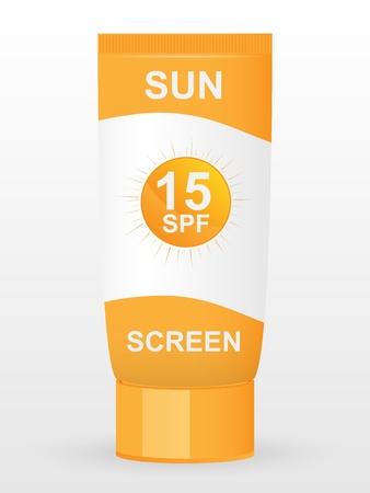 sun lotion: Crema bloqueador solar Vectores