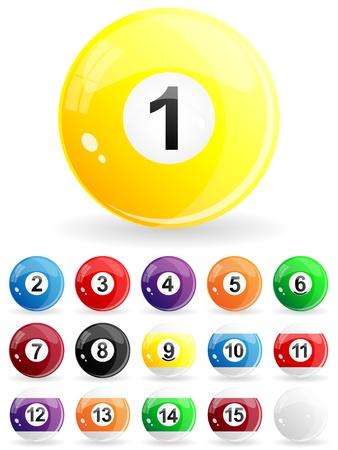 billiard ball: Glossy set of pool balls
