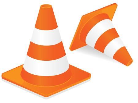 highway traffic: Orange highway traffic cone with white stripes