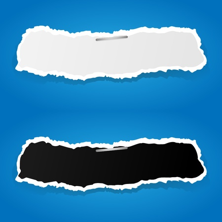 puncture: White and black ripped paper on blue background