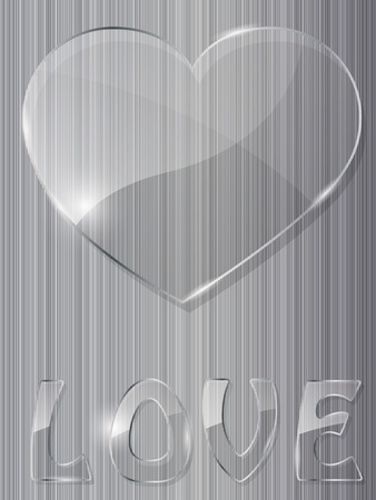 Glass heart on metal background Illustration