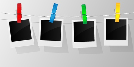 peg: Blank photo frames on a clothesline. Vector illustration.