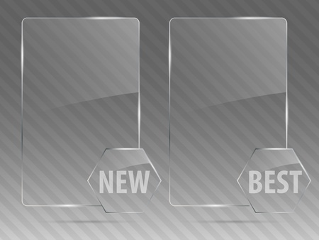 rectangle button: Glass framework set