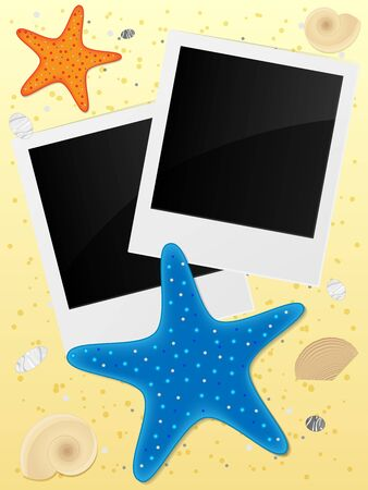 Blank photo frames on sand background. Vector illustration.  Illustration