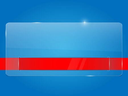 Glass framework with red ribbon on blue background. Vector illustration.