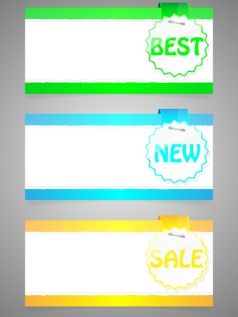 Set of colorful stickers with paper card  Vector