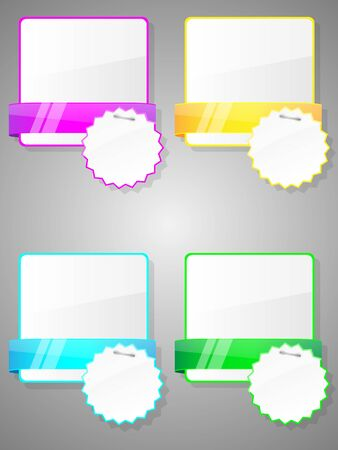 Set of colorful stickers with paper card  photo