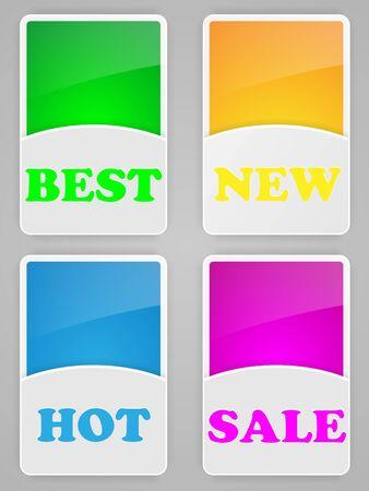 Set of colorful labels illustration. Vector