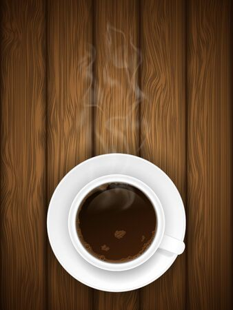 Coffe cap on wooden background  Vector illustration