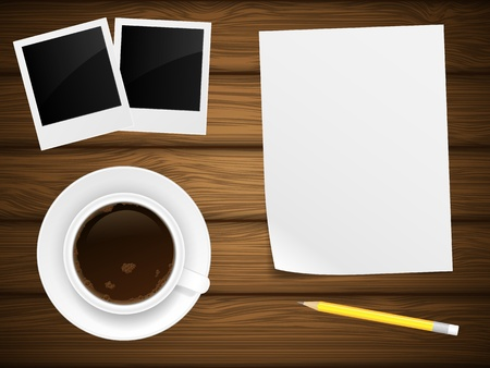 Coffee cap, white paper, photo frame and yellow pencil on woden background  Vector illustration  Illustration