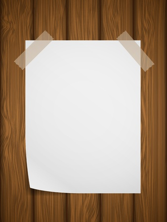 White paper on wooden background  illustration  Vector